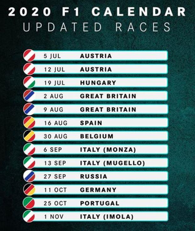 F1 : nouveau calendrier étoffé