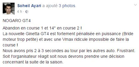 "FFSA GT - GT4 Sud : Ayari "" La Ginetta manque de vitesse de pointe"""