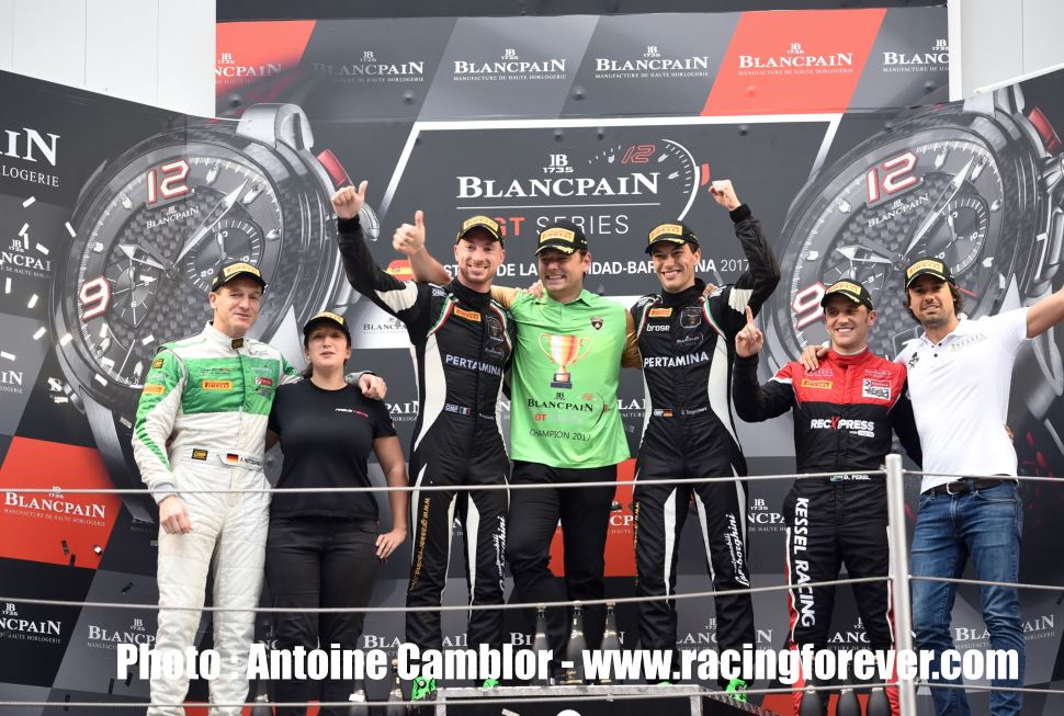 Le podium final de la Blancpain GT Series